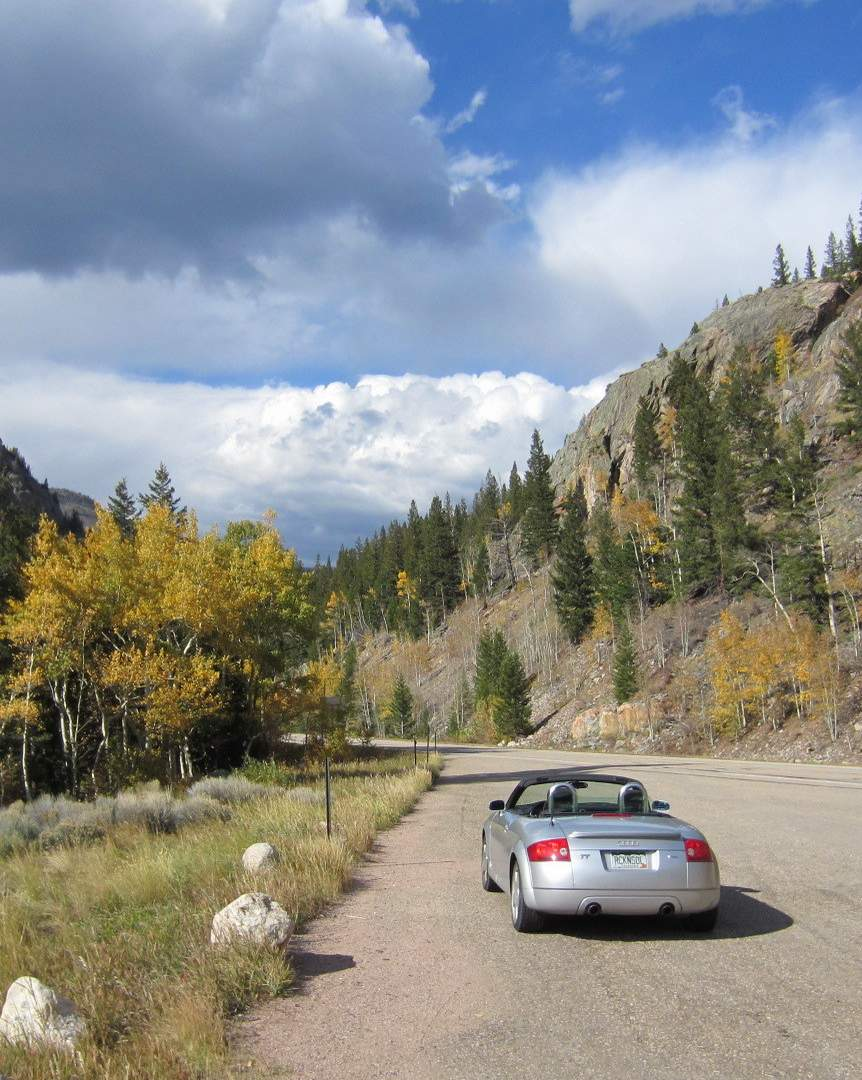 silver Audi TT roadster in the Poudre Canyon