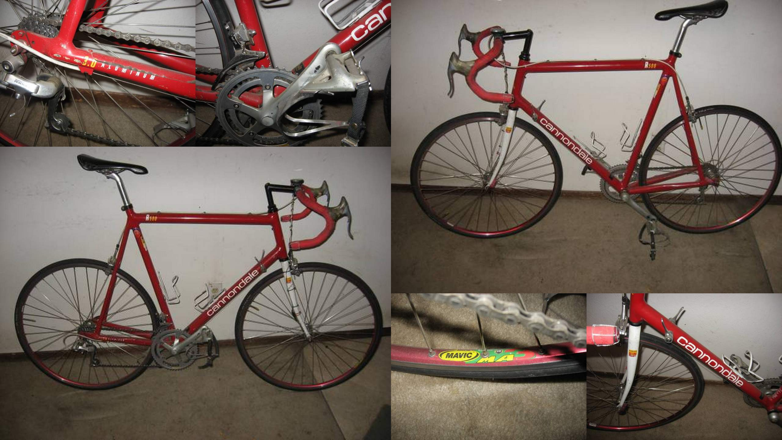 Another red and white 1992 Cannondale R500 in Fort Collins! (Photo collage made from images on Craigslist.)