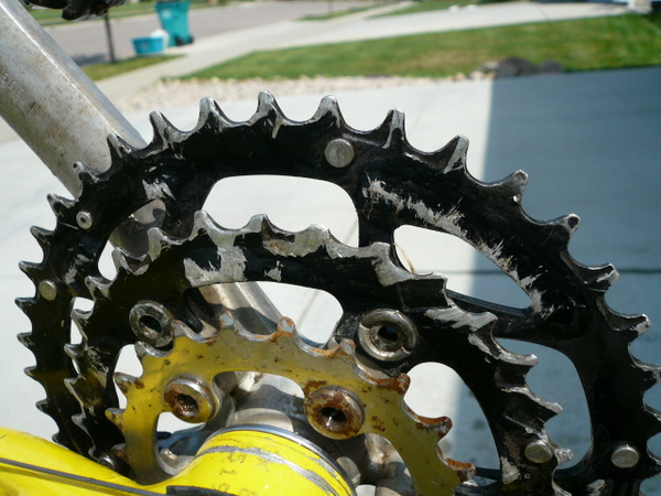 The chainrings on my 1996 Cannondale F700 after the gruelling, 2700-mile Tour Divide mountain bike race in 2008.