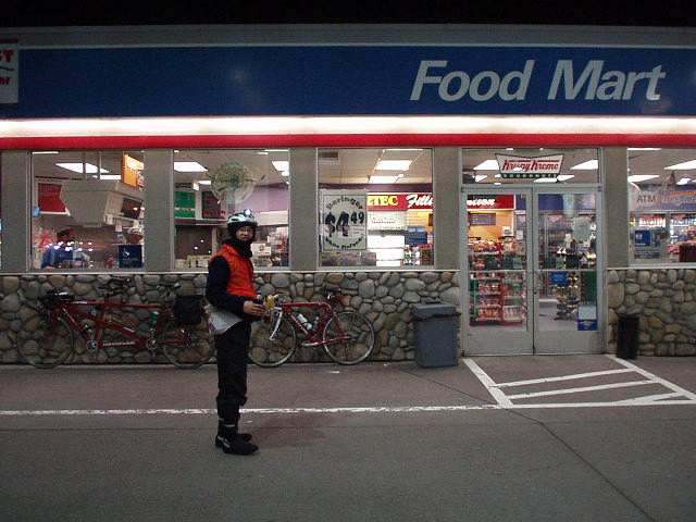 Mile 106, 1:10am: I stopped off at a Chevron 24-hour Food Mart for a 20-oz Pepsi and pretzels.  Due to the long distance between checkpoints, this stop was recommended.