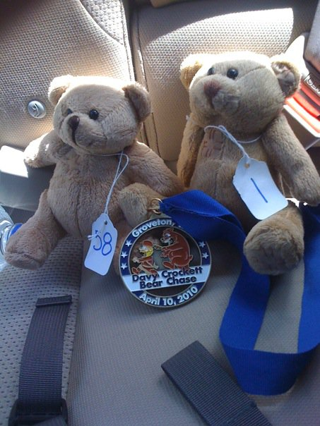 The bears Dan and I were given for finishing the Davy Crockett Bear Chase marathon. (Photo: Dan)