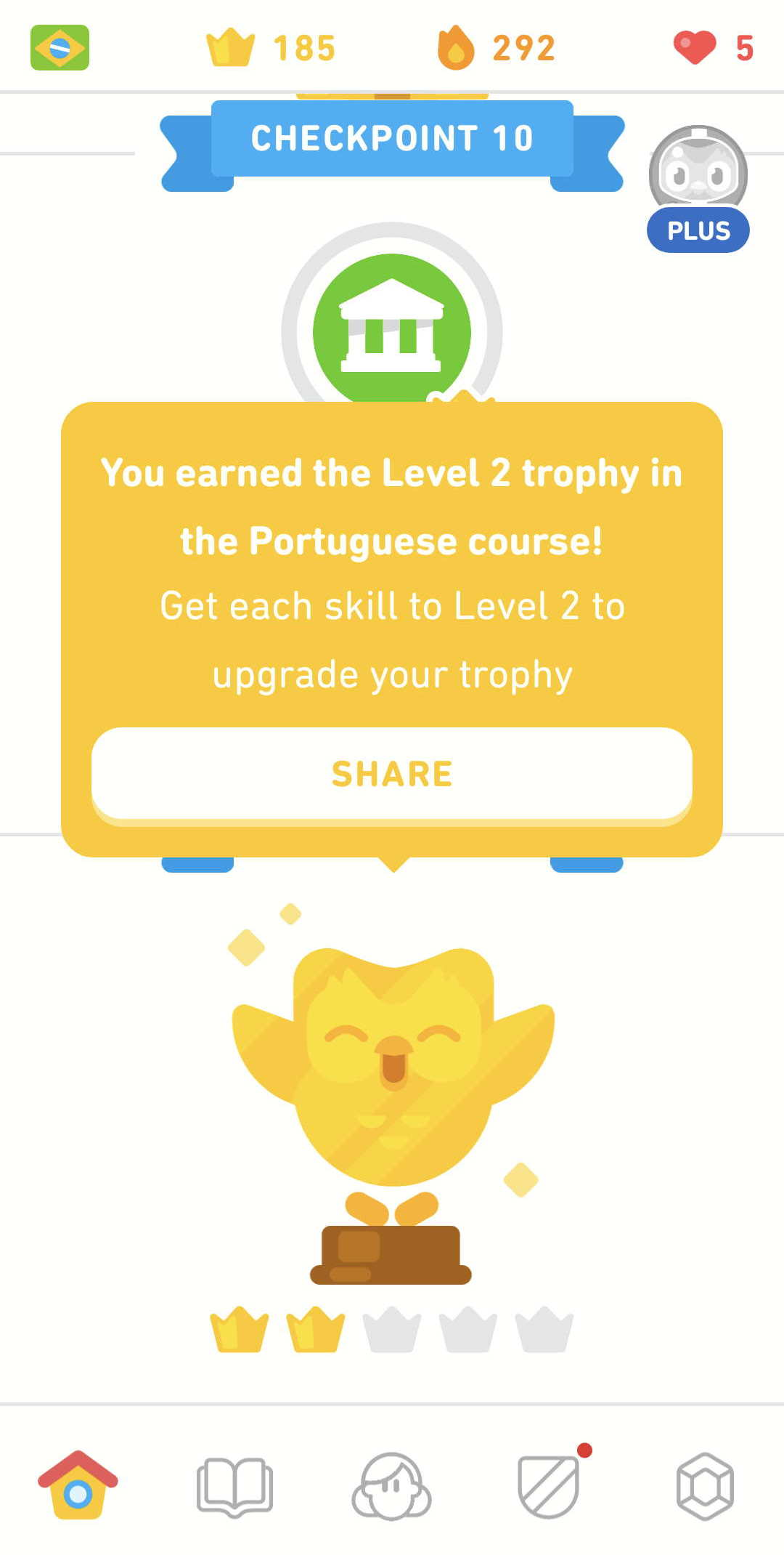 The Level 2 trophy for Duolingo's Portugese course.