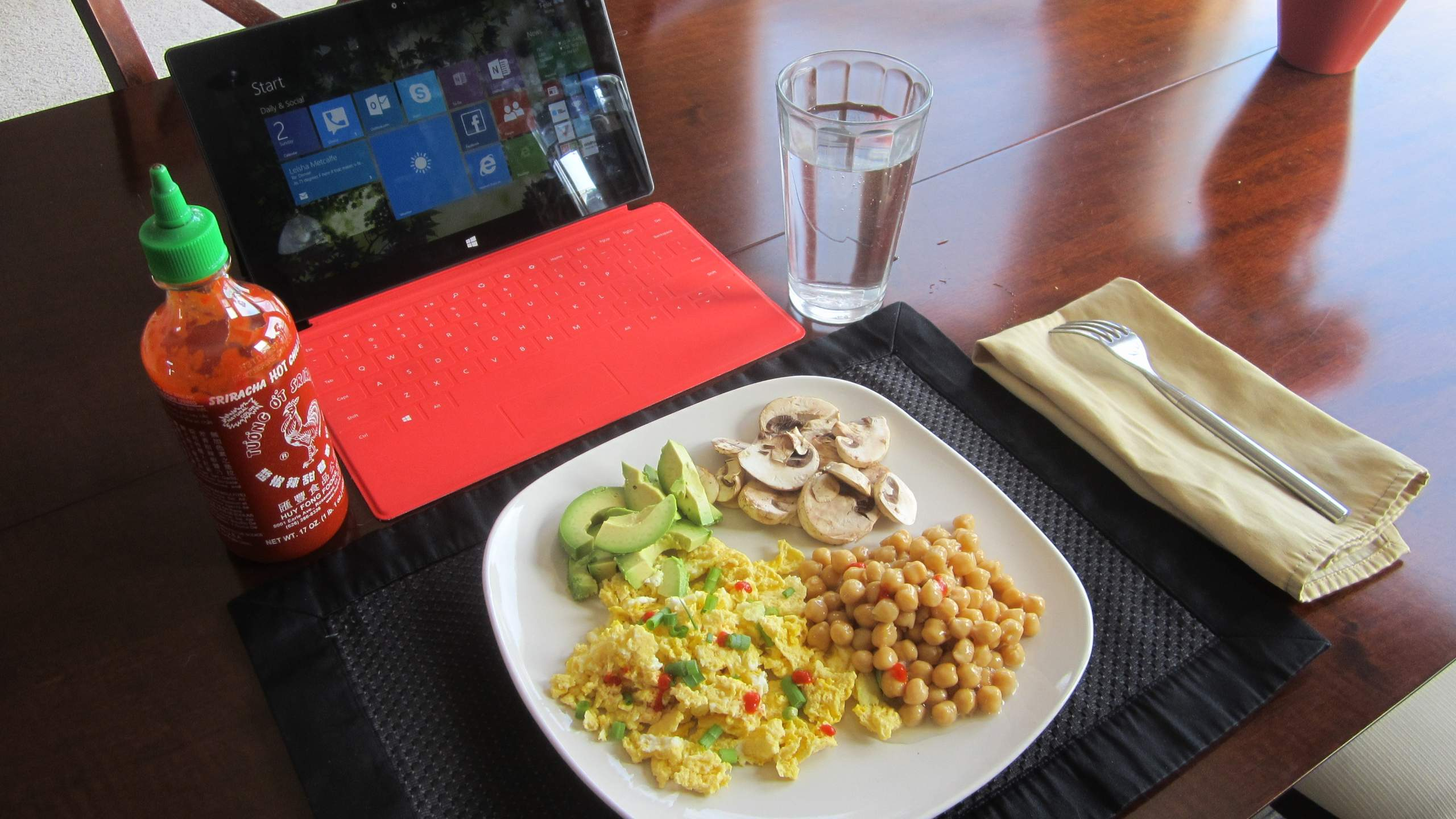 Avocado, mushrooms, chick peas, and microwaved eggs for breakfast.