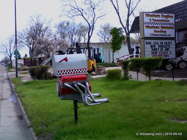 The pair of mailboxes outside Western Engines and Transmissions in north Fort Collins, CO.