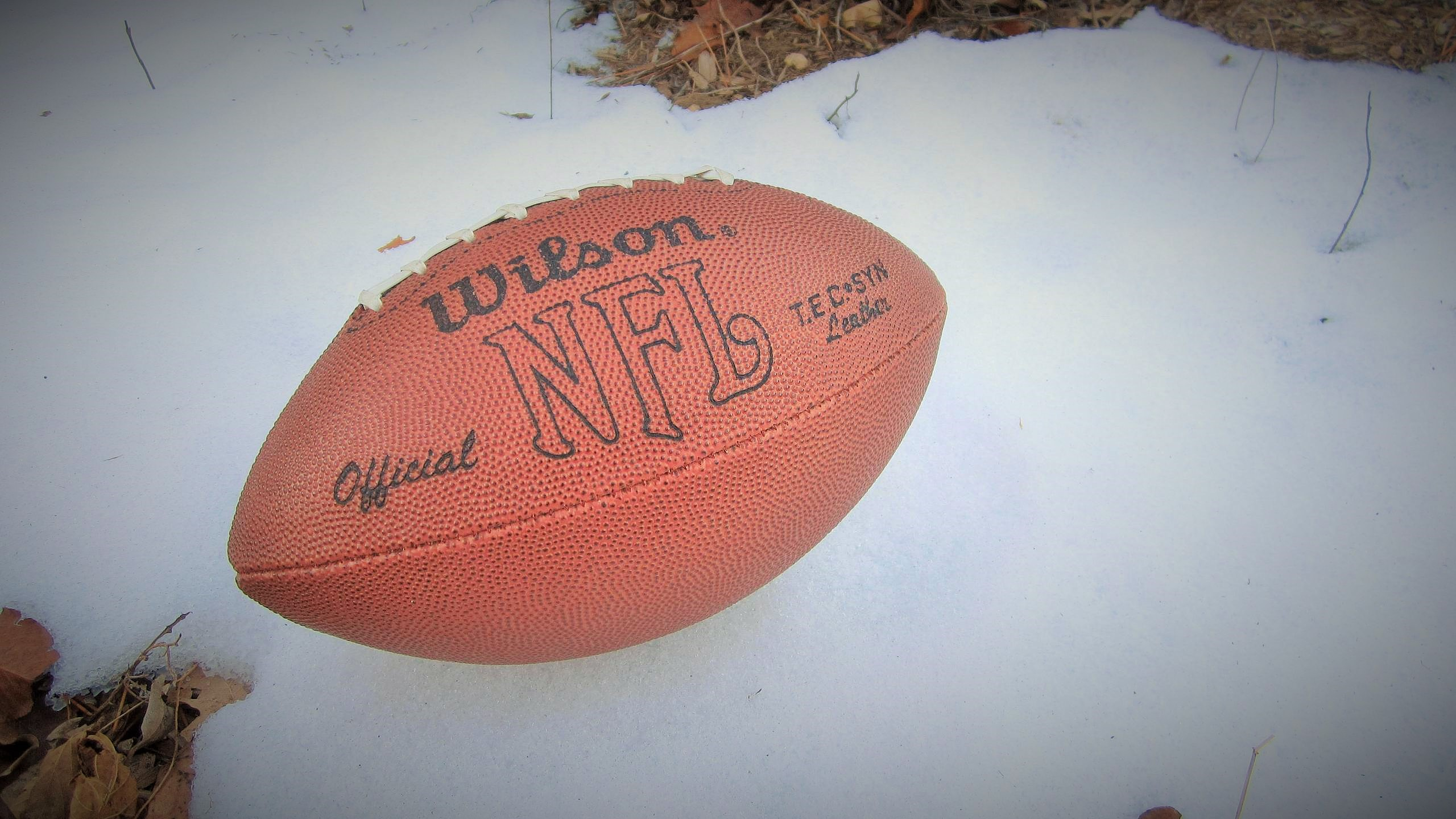 A football in snow.