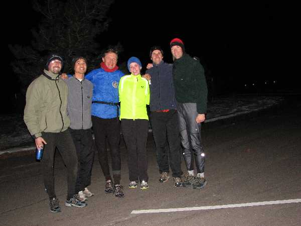 Steve, Felix, John, Mackenzie, Alex, and Dan after a full-moon snow run.
