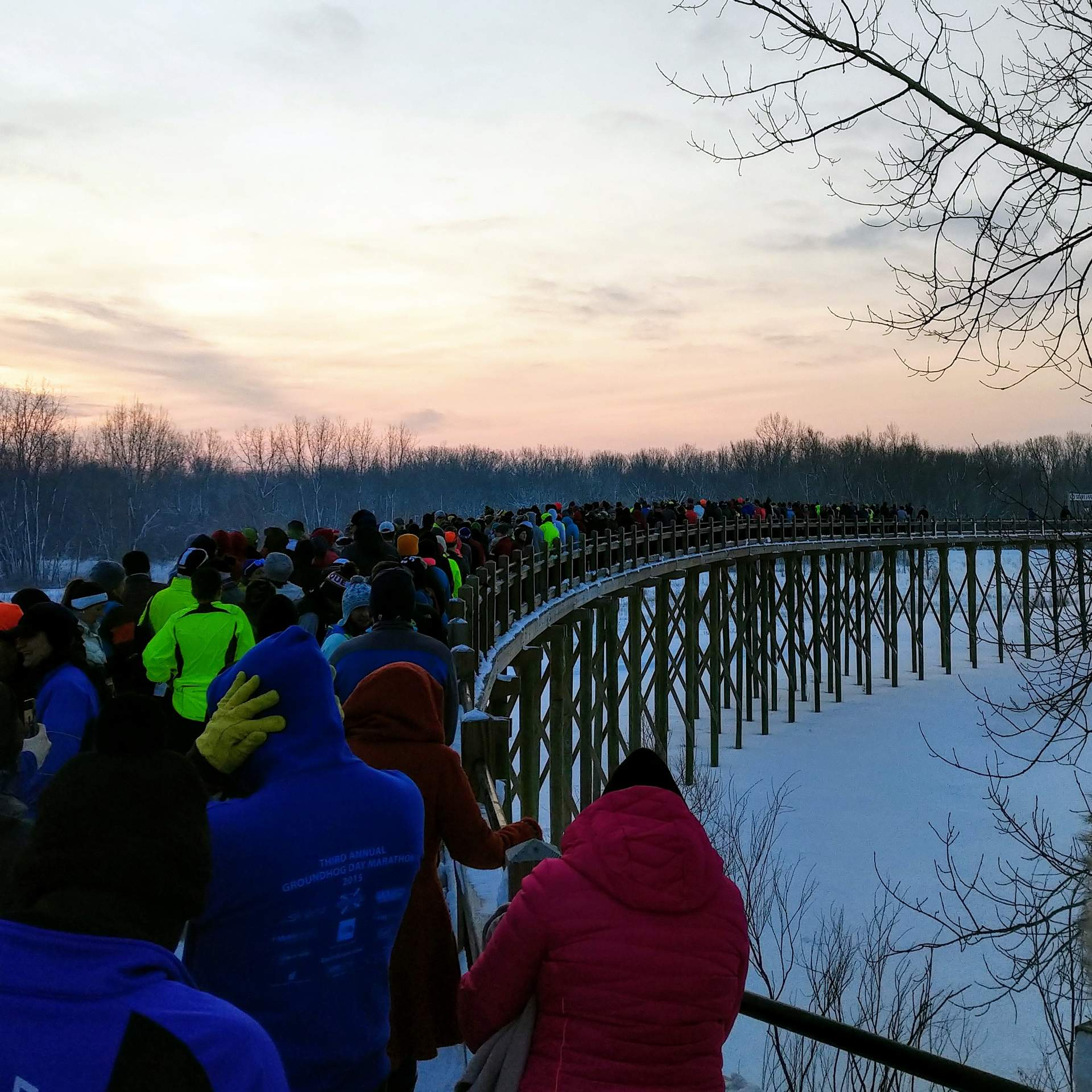 Lining up for the start of the 2019 Groundhog Day Marathon. I probably should have started closer to the front.