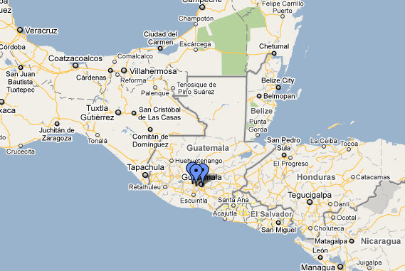 """Where I'll be (signified by the blue dots) during my volunteering """"vacation"""" in Guatemala. (Image: Google Maps)"""