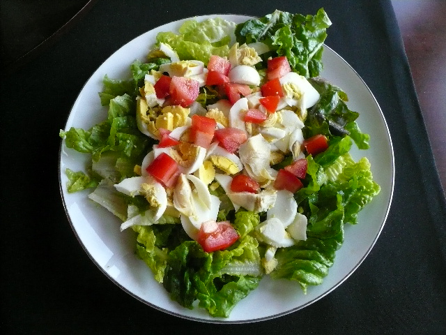 Green lettuce, hard-boiled eggs, tomatoes and artichoke pieces.