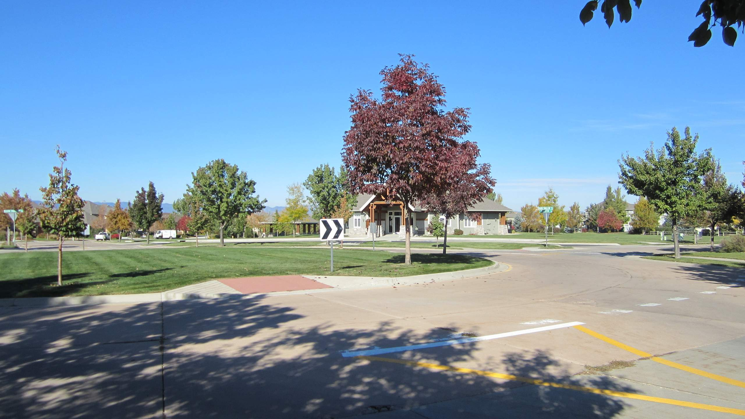 The roundabout in the Hearthfire neighborhood in Fort Collins.