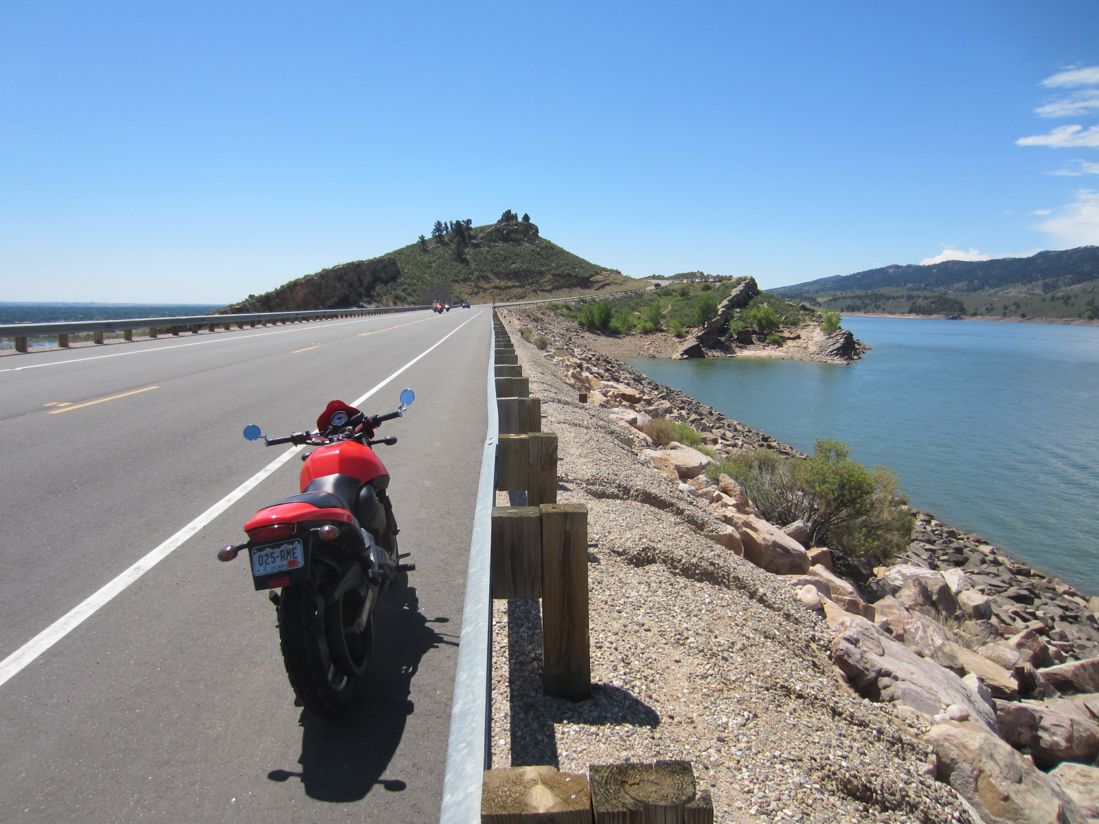 red Buell motorcycle by Horsetooth Reservoir