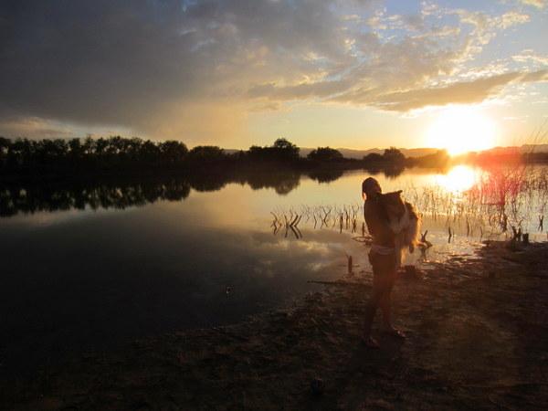 Kelly and Kona at Richard Lake at sunset.