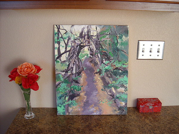 oil painting, tunnel of branches, Free State 100km trail race