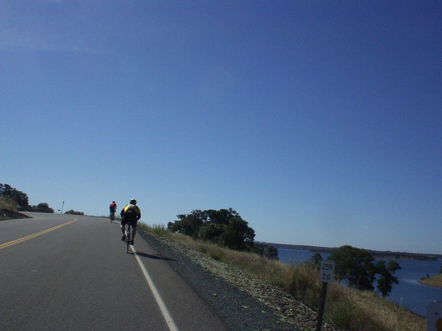 [Mile 27, 9:13am] Perhaps the most scenic and certainly the most rolling part of the ride was by Lake Camanche.