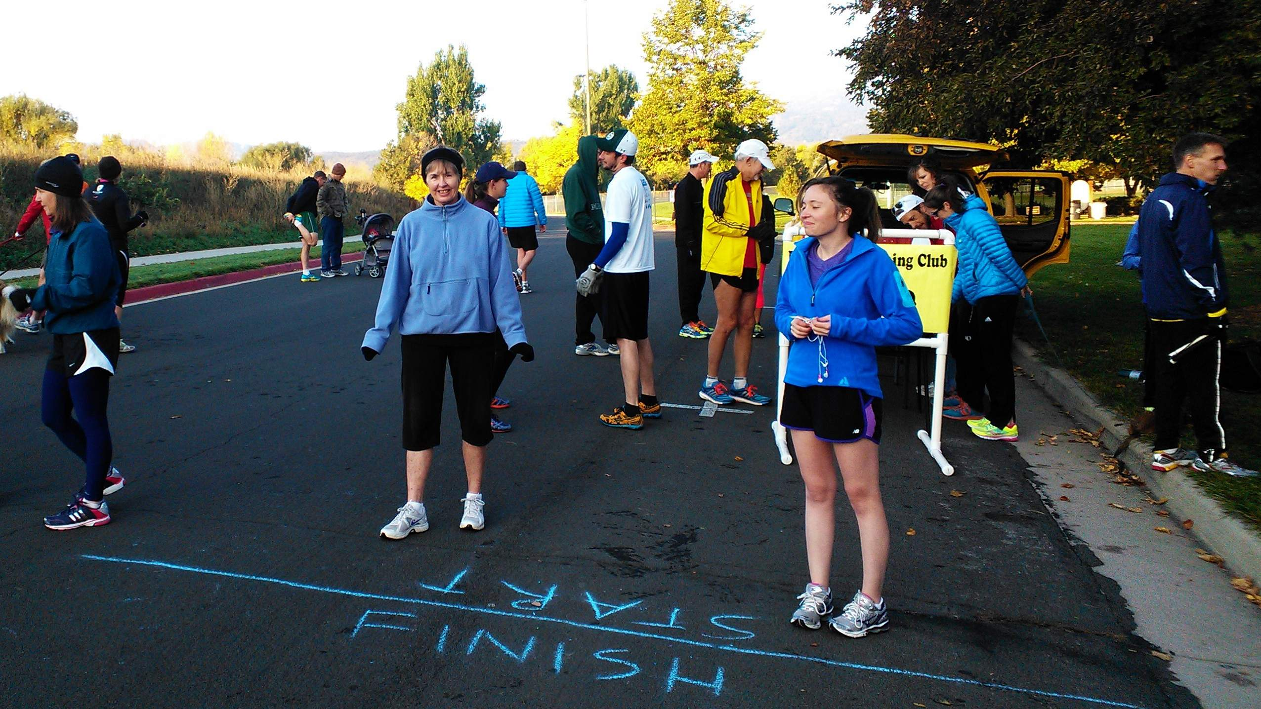 Runners lining up for their turn at the start of the Rolland Moore Park 4k Tortoise & Hare race.