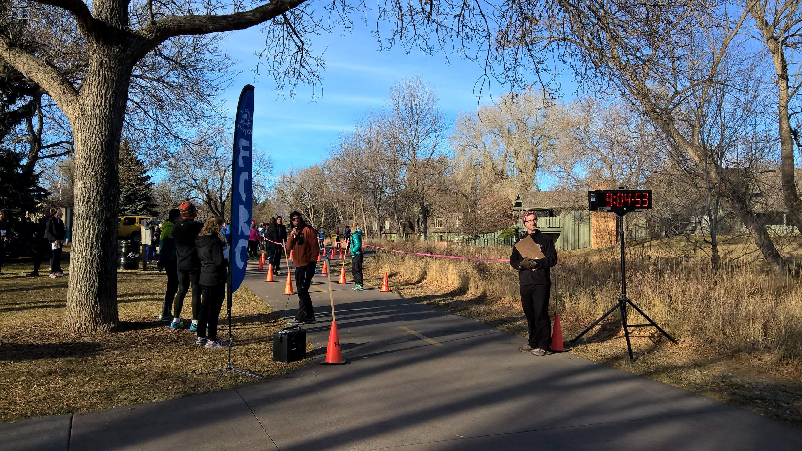 The finish line at the Spring Park 6k Tortoise & Hare race.