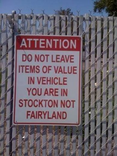 Parking sign in Stockton. (Photo forwarded from Michele G.; original source unknown.)