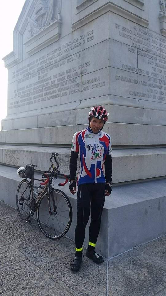 Felix Wong, 2015 Trans Am Bike Race finish, Shermer's Neck, Yorktown Victory Monument