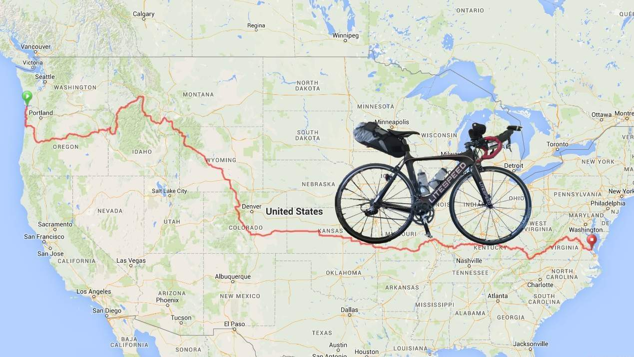 Felix Wong's Litespeed Archon C2 overlaid on the route of the Trans Am Bike Race.