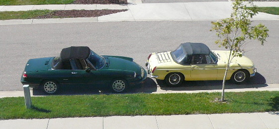 green 1991 Alfa Romeo Spider Veloce, yellow 1969 MGB roadster