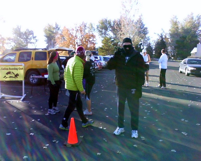 Runners at the start of the Warren Park 5k. It wasn't as cold as Tim's face mask might have suggested.