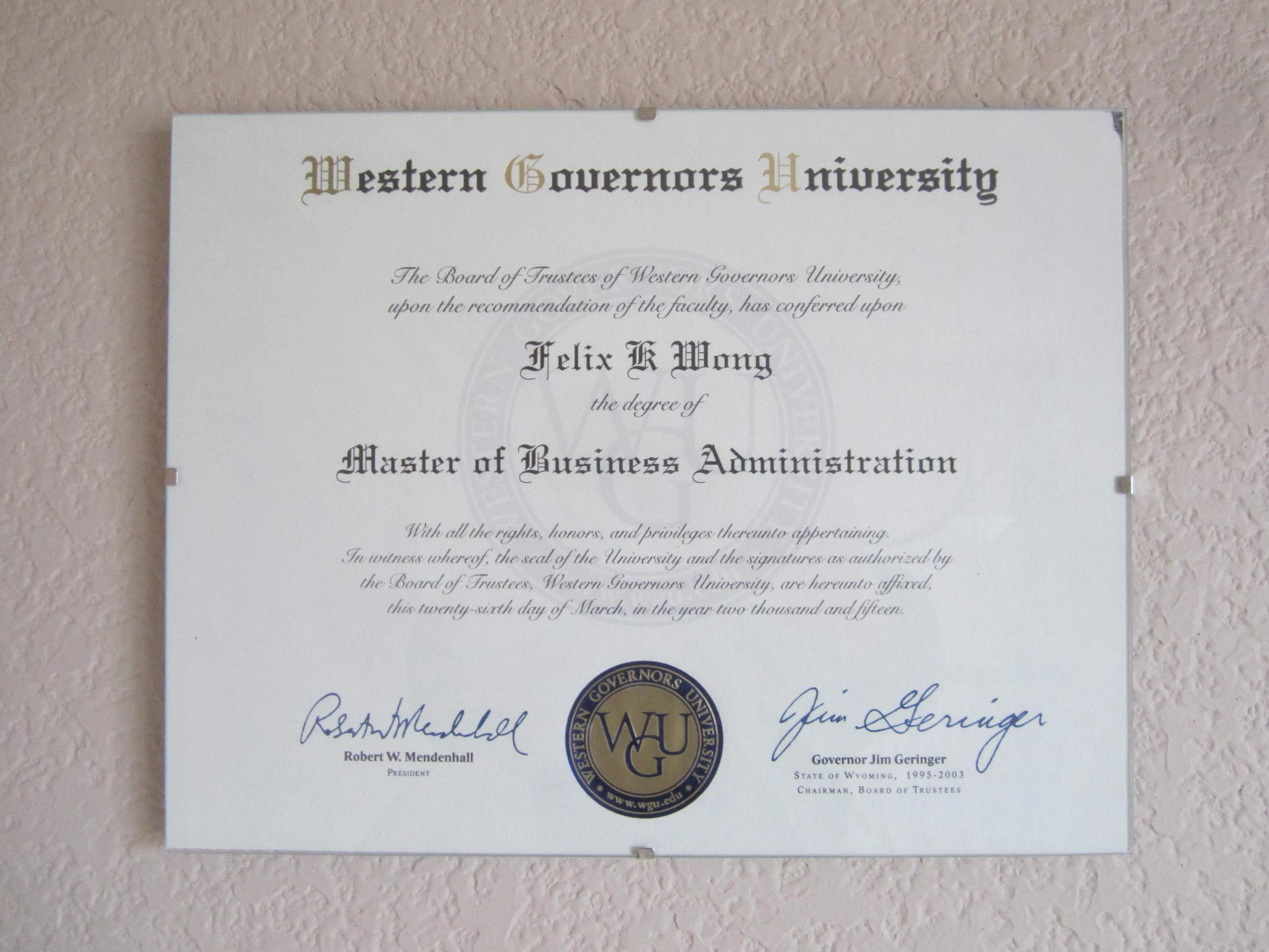 Master of Business Administration, MBA, Western Governors University, Felix Wong, diploma