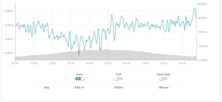 Strava data from a 10-mile training run.