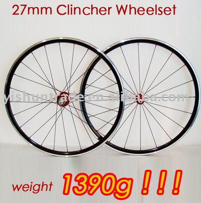 The Yishun YS-AL27C 27mm alloy clincher road wheels are advertised to be 1390 grams.  My set came in at 1465g-30g(rim tape)=1435g. (Image: Alibaba)