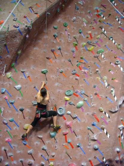 Alyssa on a 5.10, a warmup for her.
