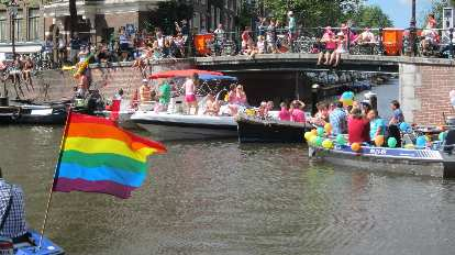 Rainbow flags flew prominently during the Gay Pride Parade.