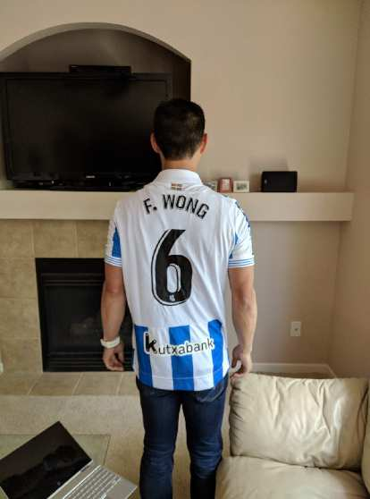 Antxon and Vicky gave me this jersey for Real Sociedad, their favorite Spanish football club based in their city of San Sebastián, as a gift.