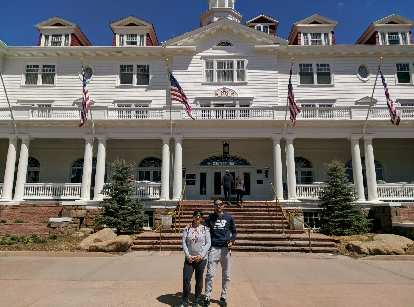 Vicky and Antxon in front of the Stanley Hotel.