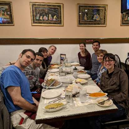 E, Antxon, Vicky, Matt, Hannah, Felix, Mel, and Angela at the Taj Mahal restaurant in Fort Collins. This would be the first time Antxon and Vicky ever tried Indian food.