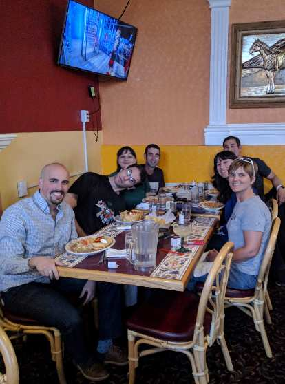 Manuel, E, Vicky, Antxon, Felix, Angela, and Mel at dinner at restaurant Pueblo Viejo on the Cinco de Mayo.