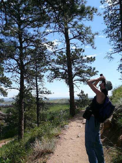 Sarah looking at a tiny bird's nest.