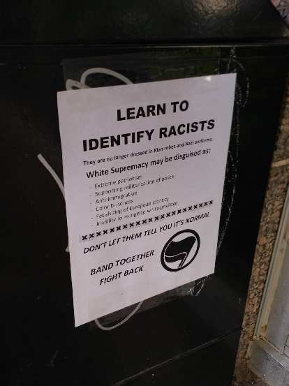 There were these informational flyers posted around downtown Asheville about identifying racists.