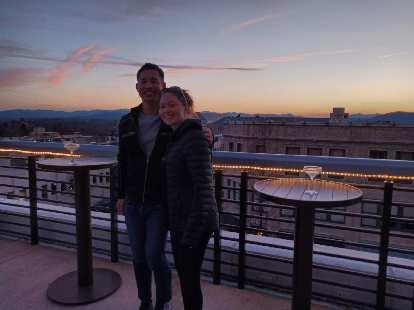 Felix and Maureen enjoying the sunset at Hemingway's Cuba in Asheville.