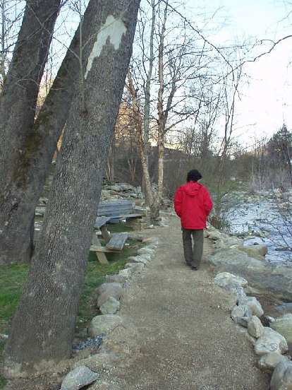 """Franco hikes ahead on a trail along the Broad River.  It was pretty out here, if not """"out in the middle of nowhere""""..."""