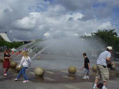 Fountains at the waterfront.