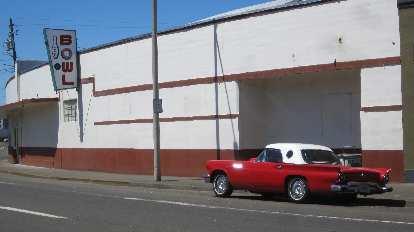 red 1950s Ford Thunderbird, white top, Lower Columbia Bowl, Astoria, Oregon