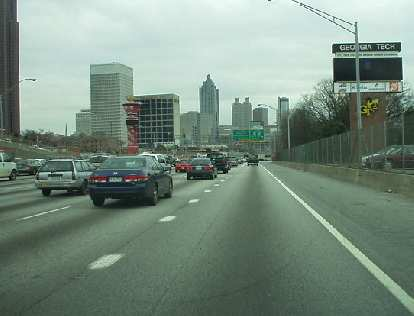 I drove down to Atlanta from Knoxville.  This photo depicts the skyline of Atlanta's downtown and Georgia Tech areas.