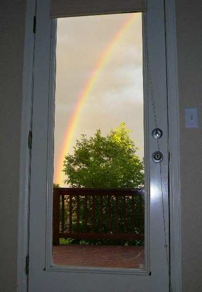 On the Fourth of July I was surprised to see this rainbow.