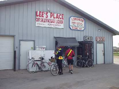 [Mile 35, 9:36 a.m.] Some of the others rolled into Lee's Place just as I was about to leave.
