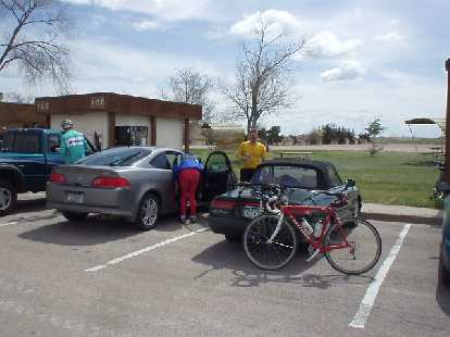 [Mile 71, 11:45 a.m.] We passed by the Cedar Park Lodge where our cars were at, but we actually still had 64 miles to ride.