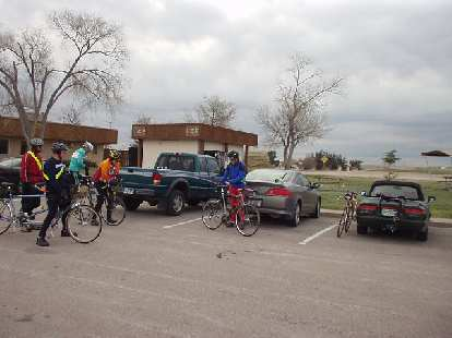 [Mile 0, 6:58 a.m.] Eight of us (representing South Dakota, Montana, and Colorado) gathered at the Cedar Pine Lodge in Interior, SD to ride this 200km brevet.  Six would finish the whole distance.
