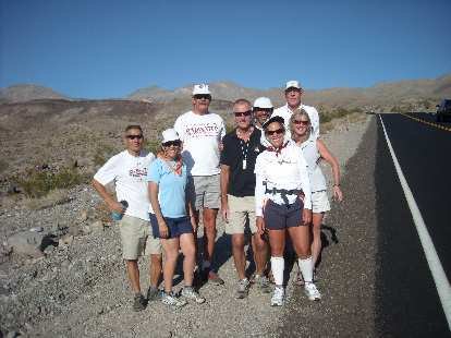 The crew of Dale Perry (who was going to commence a solo [non-race] crossing of Death Valley) stopped to say hello while Alene was going up Townes Pass.