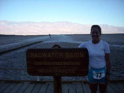 Alene in Badwater, the start of the ultramarathon.