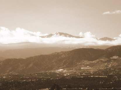 Pikes Peak towering above Colorado Springs.