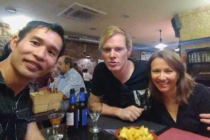 Felix Wong, Michael Wacker and Marcella at Catalonian Restaurant Terra d'Escudella.
