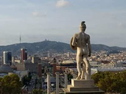 Statue of a Roman soldier overlooking Barcelona from Montjuic.